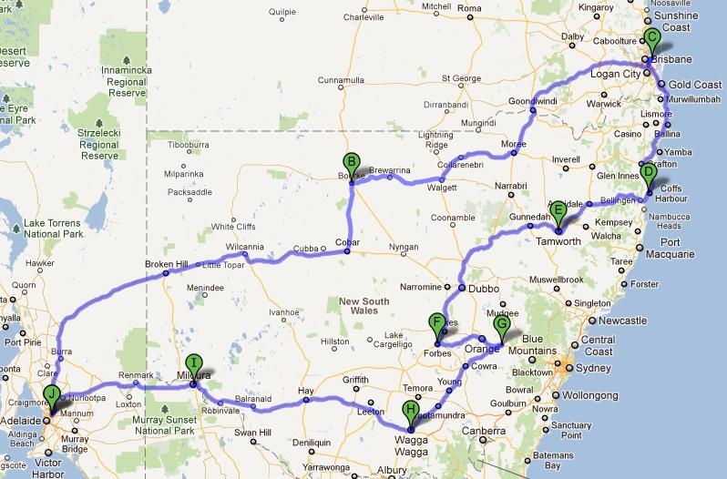 Sep Oct 2011 QLD trip map