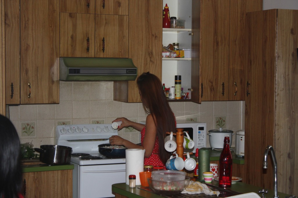 Flo busy cooking