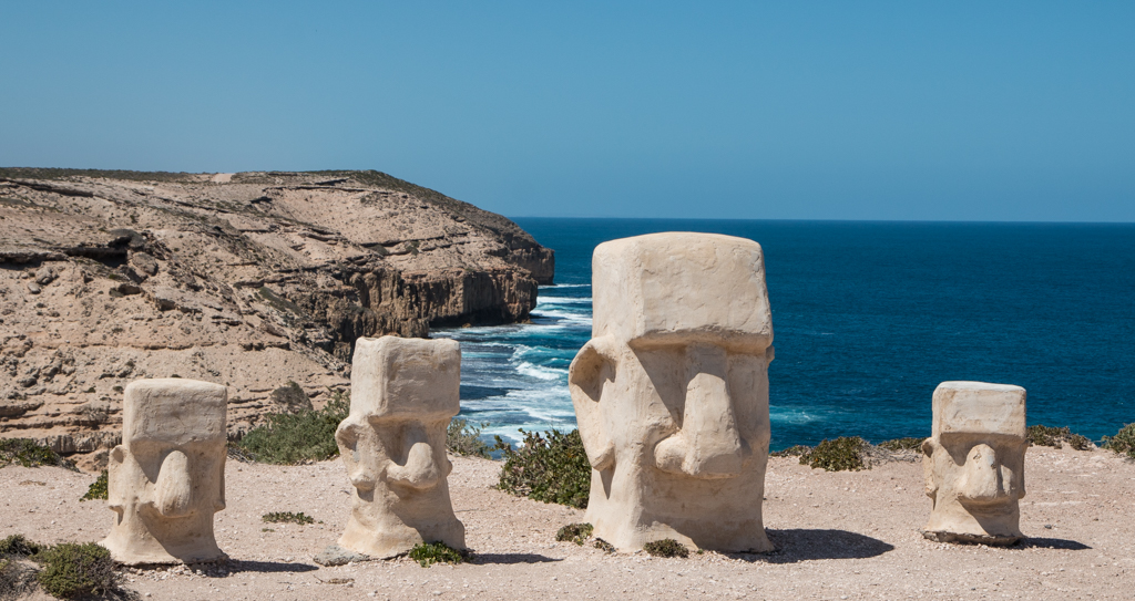 Sandstone sculptures with ocean and cliffs at Elliston, South Australia