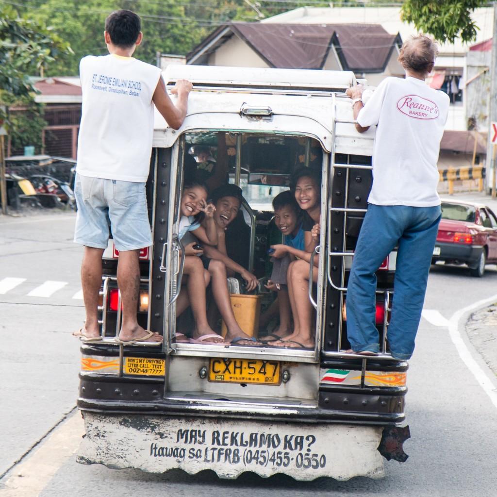 Kids having fun in Jeepney