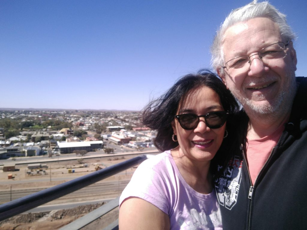 Patty and Trev overlooking Broken Hill