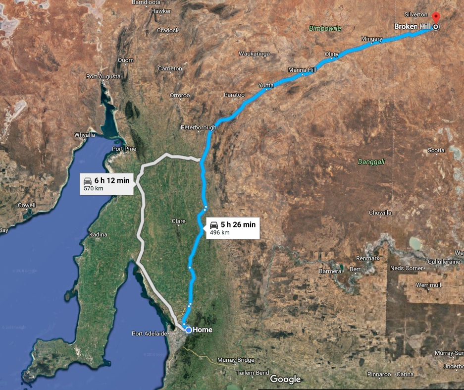 Adelaide to Broken Hill map
